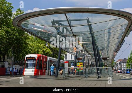 Modern Tram Station in Krefeld, North Rhine-Westphalia, Germany. - Stock Image