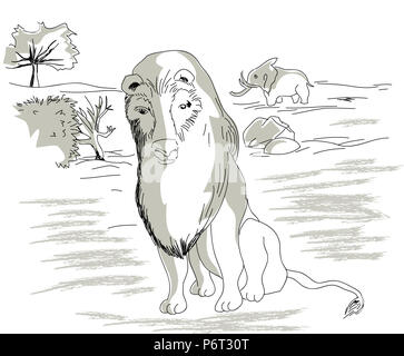 lion in the Africa.  illustration of wildlife in the Africa, elephant and lion. African lion and animal background. - Stock Image