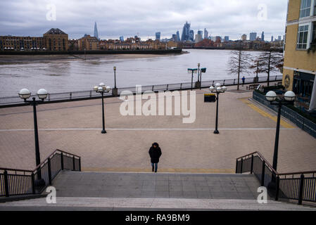 City of London and the River Thames viewed from Canary Wharf, London England. Dec 2018 - Stock Image