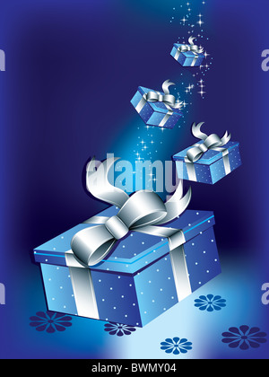 Flying gift boxes - Stock Image