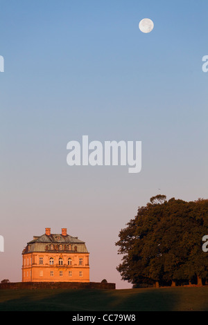 The Hermitage, at Dawn with Full Autumn Moon, Hunting Lodge in Royal Deer Park Klampenborg, Copenhagen, Sjaelland, - Stock Image