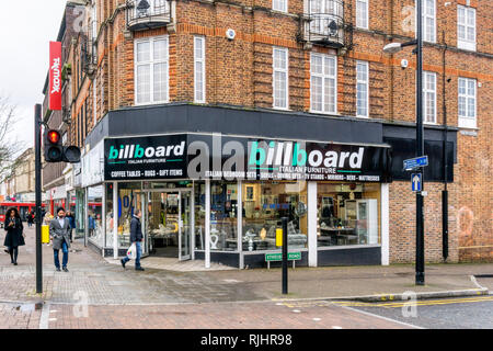Billboard, an Italian furniture shop, in Bromley High Street, South London. - Stock Image