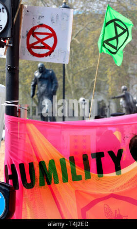 London, UK. 17th April, 2019. Environmental campaign group Extinction Rebellion bring traffic to a standstill in central London for the third day running, camping out in several locations around the city, to demand that the Government take emergency action on the climate and ecological crisis. Parliament Square Credit: PjrFoto/Alamy Live News - Stock Image