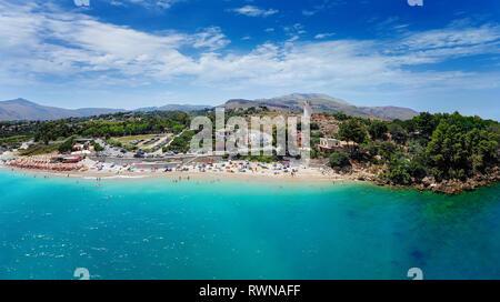 Bird View Panorama with Guidaloca beach. Scopello, Castellammare del Golfo, Sicily, Italy. Nature, Parks, Outdoor Activities, Beaches - Stock Image
