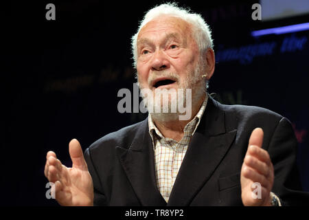 Hay Festival, Hay on Wye, Powys, Wales, UK - Friday 31st May 2019 - Sir Robin Knox-Johnston sailing legend on stage at the Hay Festival to talk about his latest book Running Free. Photo Steven May / Alamy Live News - Stock Image