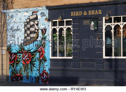 Exterior of Abandon Ship bar mural painted by Steen Jones on Dock Street Dundee Scotland  March 2019 - Stock Image
