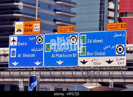 Road sign Sheikh Zayed Road Dubai UAE - Stock Image