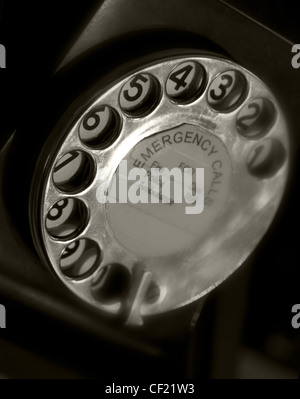 Black Telephone dial Emergency Call - 999 - Stock Image