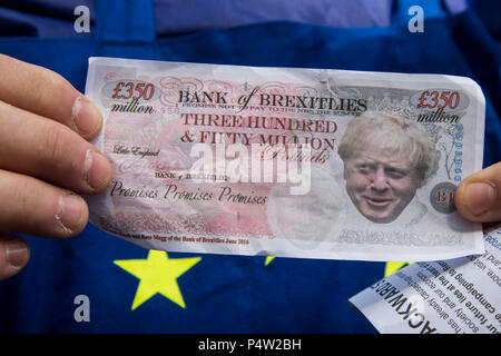 London, UK. 23 June 2018.Anti-Brexit march and rally for a People's Vote in Central London. Face of Boris Johnson on a 350 million pound note. - Stock Image