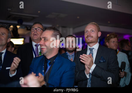 Stockholm, Sweden, September 9, 2018. Swedish General Election 2018.  Election Night Watch Party for Sweden Democrats (SD) in central Stockholm, Sweden. Aron Emilsson (SD), right. Credit: Barbro Bergfeldt/Alamy Live News - Stock Image
