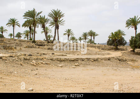 Excavated ruins in the ancient city of Meggido in Northern Israel. This place is otherwise known as Armegeddon the future scene of the last great batt - Stock Image