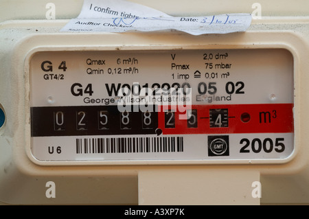 Dials on gas meter - Stock Image