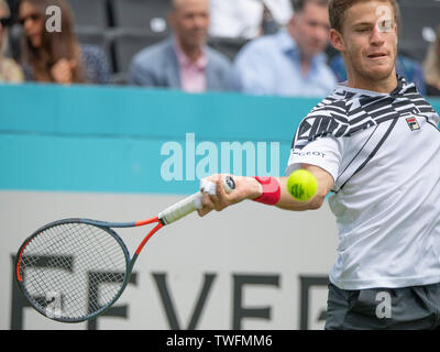 The Queens Club, London, UK. 20th June 2019. Day 4 of The Fever Tree Championships. Number 5 seed Marin Cilic (CRO) is knocked out by Diego Schwartzman (ARG) on centre court, Schwartzman winning 6-4;6-4. Credit: Malcolm Park/Alamy Live News. - Stock Image