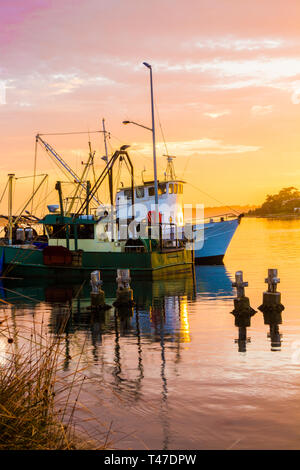 Fishing boats at sunrise. Greenwell Point, New SOuth Wales, AUstralia - Stock Image