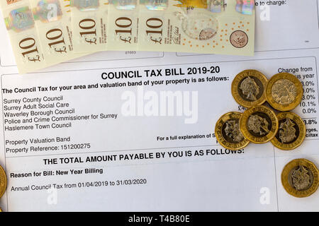 Council Tax bill 2019-20 - Stock Image