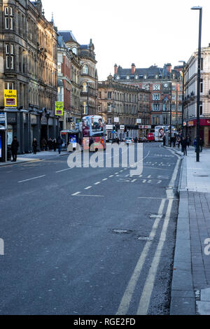 A view along Boar Lane in Leeds City Centre a busy thoroughfare with an illustrious history - Stock Image