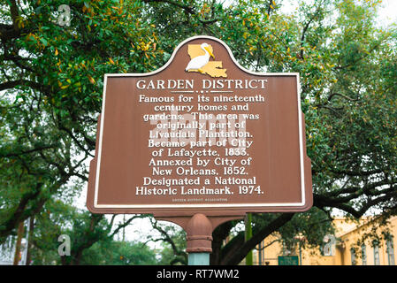 Garden District New Orleans, view of a sign in the Garden District of New Orleans giving information about the origins and history of the area, USA - Stock Image