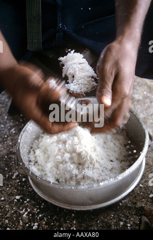 worker making copra from coconut flesh - Stock Image
