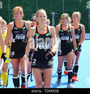 Krefeld, Germany, June 16 2019, hockey, women, FIH Pro League, Germany vs. Australia:  German players LtoR Sonja Zimmermann, Kira Horn, Selin Oruz, Ha - Stock Image