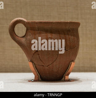 Pottery Cup. Bronze Age. Tell Arka, Lebanon. Directorate General of Antiquities-Lebanon. - Stock Image