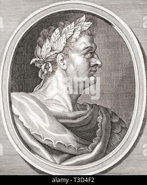 Domitian, 51 AD - 96 AD.  Roman emperor. - Stock Image