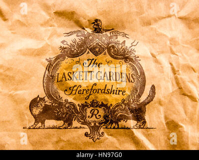 Crest on a bag containing plants bought from Laskett Gardens Herefordshire UK - Stock Image