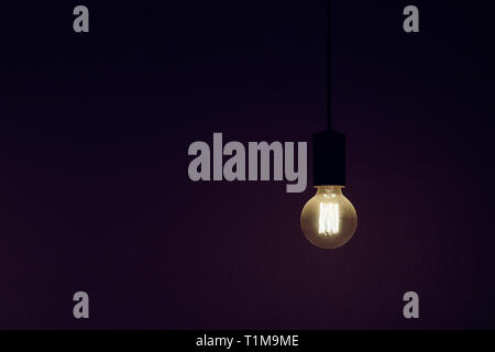 Vintage electric light bulb illuminated against black background - Stock Image
