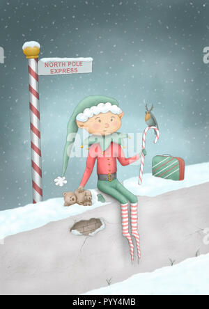 cute full color hand drawn Christmas illustration of elf sitting on wall in snow at North Pole Express sign post, with teddy bear, candy cane, robind  - Stock Image