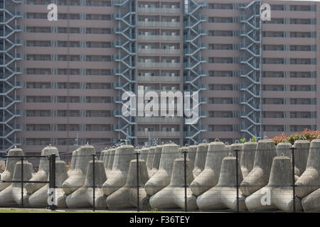 barrier concrete cement block tetrapod industrial - Stock Image