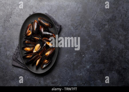 Delicious cooked seafood mussels with tomato sauce. Top view with space for your text - Stock Image