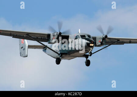 Polish Navy PZL-10S Bryza twin turboprop utility aircraft on approach - Stock Image