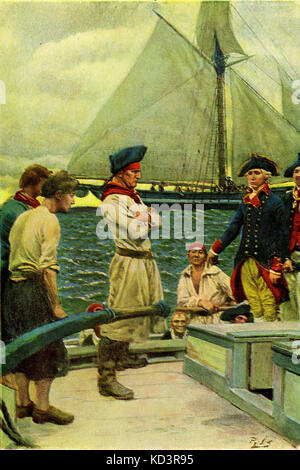 American privateer taking a British ship. American Revolution, 1765 - 1783. Illustration by Howard Pyle, 1908 - Stock Image