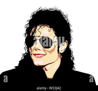 michael jackson popstar singer music editorial male illustration - Stock Image