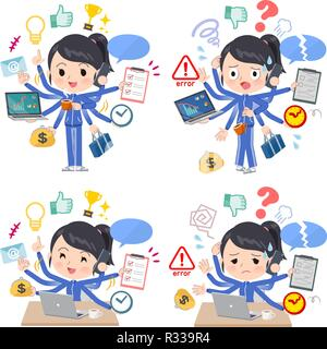 A set of women in sportswear who perform multitasking in the office.There are things to do smoothly and a pattern that is in a panic.It's vector art s - Stock Image