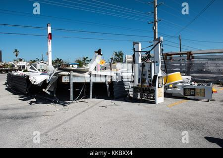 A damaged gas station in the aftermath of Hurricane Irma November 18, 2017 in Summerland Key, Florida.  (photo by - Stock Image