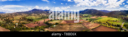 Grazing grass fields on horse farms in rural Hunter Valley of NSW, Australia. Elevated aerial wide panorama over paddocks and farmlands between hill r - Stock Image