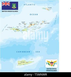 united states and british virgin islands vector map with flags - Stock Image