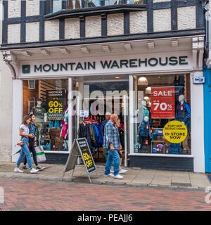 Mountain Warehouse,Outdoor Clothing,Store,High Street,Canterbury,Kent,England,UK - Stock Image