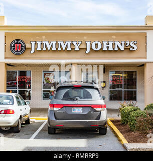 GREENSBORO, NC, USA-2/14/19: A Jimmy John's restaurant, one of approximately 300, primarily franchise-owned sandwich shops in the United States. - Stock Image