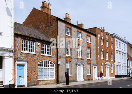 Georgian buildings in West Street, Chichester, West Sussex, England, UK, Britain - Stock Image