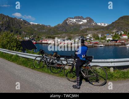 Fishing village Tind, between Moskenes and A, Lofoten Islands, Norway - Stock Image