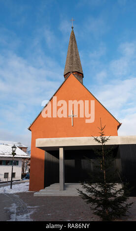 The Lutheran church in the village of Oberammergau, Germany - Stock Image