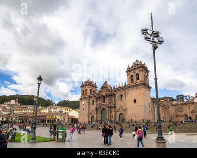 Cusco, Peru - January 2, 2017. Side view of the Cusco cathedral in the Plaza de Armas of Cusco - Stock Image