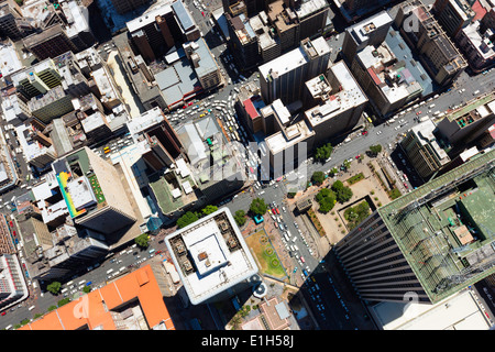 Aerial view of Jeppe Street Johannesburg central business district skyscraper Marble towers Sanlan Centre building South Africa - Stock Image