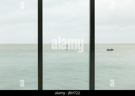 View of an overcast seascape from Turner Contemporary, Margate, England, United Kingdom - Stock Image