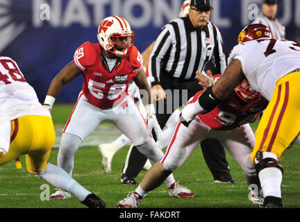 December 19, 2015. Chris Orr #50 of Wisconsin in action during the 2015 National Education Holiday Bowl between - Stock Image