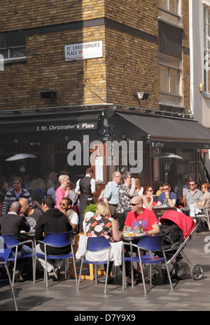 Dinning at St Christopher's Place London - Stock Image