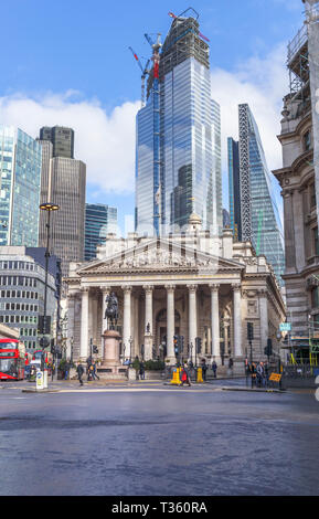 Core of partially glazed 22 Bishopsgate under construction in the City of London financial district by Tower 42, The Cheesegrater and Royal Exchange - Stock Image