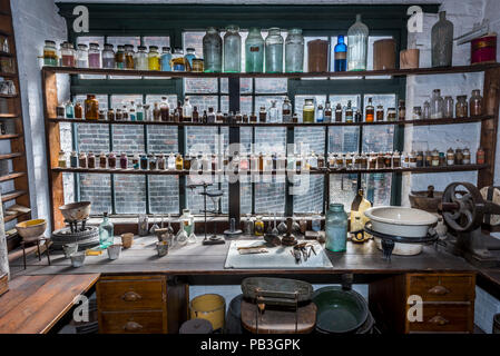 old bottles on display in window, gladstone pottery museum,uttoxeter road,longton,stoke-on-trent,staffordshire,england,uk, - Stock Image