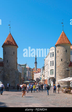Viru Gate Tallinn, view of the Viru Gate in Tallinn - the eastern entrance to the central medieval Old Town quarter of the city, Estonia. - Stock Image